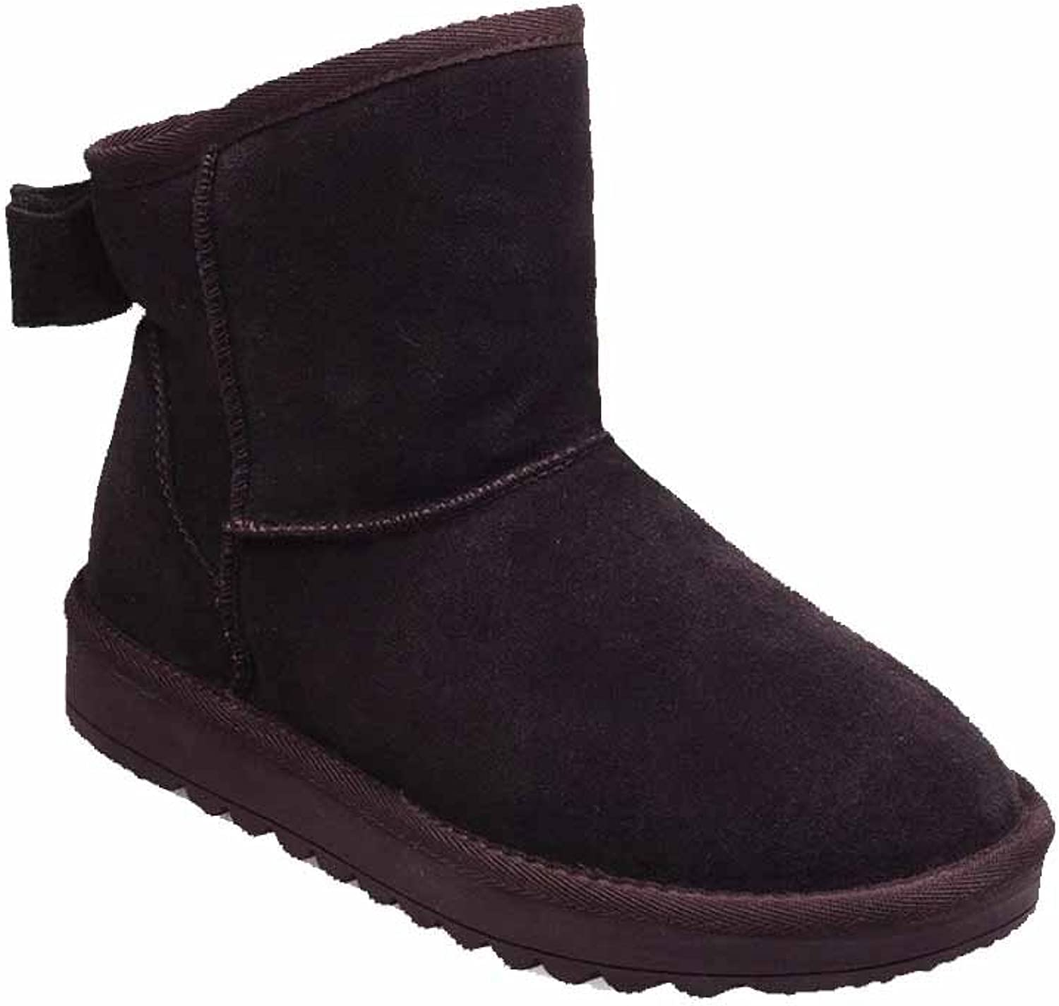 WeenFashion Women's Low-Heels Solid Round Closed Toe Frosted Pull-on Snow-Boots