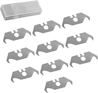 10Pack Utility Hook Blades SK5 Steel Hook Razor Blades for Cut and Trim Various Materials with Convenient Storage Box