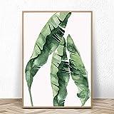 Acuarela moderna Simple verde plantas en macetas hojas palmera pared arte lienzo pintura cartel nórdico sala de estar dormitorio oficina estudio decoración del hogar