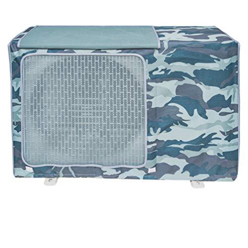 Copertura Condizionatore Esterno,Coperchio del climatizzatore per esterni Anti-Polvere Anti-Neve Impermeabile Protector Climatizzatore (Camouflage blu mare,L)