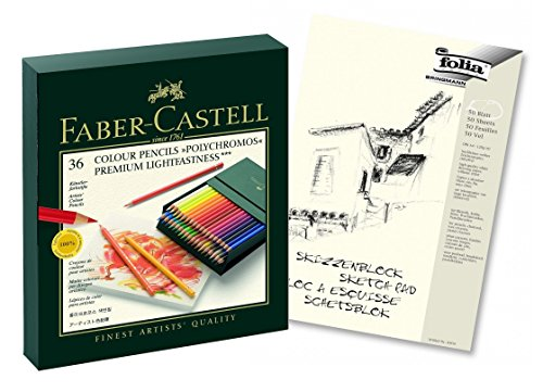 Faber-Castell 110038 - Farbstift POLYCHROMOS, 36er Atelierbox (36er Atelierbox | POLYCHROMOS, Aktionspack mit Block)