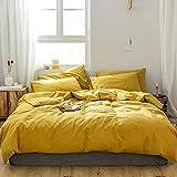 GETIYA - Juego de ropa de cama (155 x 220 cm, algodón, ropa de cama suave y lavada, con cremallera y fundas de almohada de...