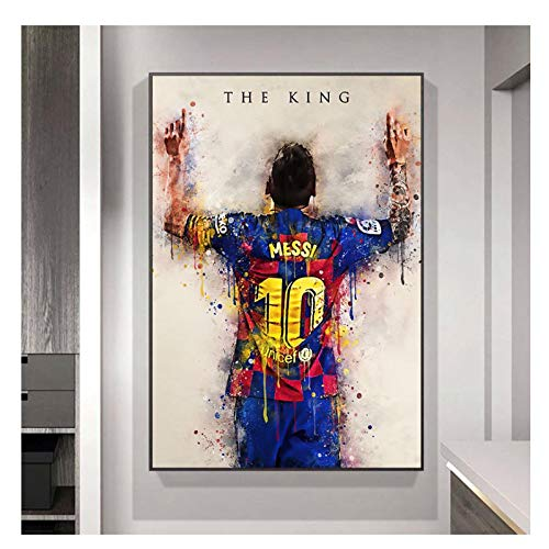 ZFLSGWZ Póster Abstracto De La Acuarela del Rey Messi De La Estrella del...