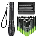 LED 18650 Flashlights with 10pcs 3.7V High Capacity Rechargeable Battery+18650 Battery Charger, Zoomable Water Resistant 5 Modes High Lumen Handheld Light for Camping Fishing Hiking Indoor Outdoor