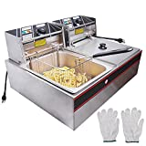 ALDKitchen Double Deep Fryer | 2-Basket Electric Fryer for Commercial Use| Stainless Steel | 12 L |...
