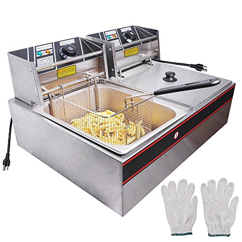 WeChef 24L 5000W Stainless Steel Electric Countertop Deep Fryer Dual Tank Basket for Commercial Restaurant