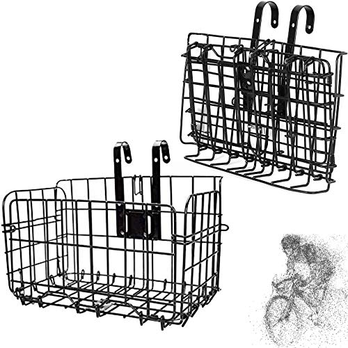 BAYINBROOK Cestino anteriore per bicicletta pieghevole, cestino per manubrio, in rete metallica, pieghevole e rimovibile, antiruggine, per studenti, alpinismo, cam, colore: nero