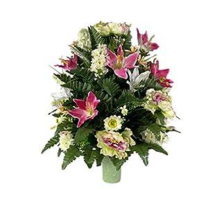 Silk Flower Arrangements Valentine Rose Vase Flower - Cemetery Flowers~Cemetery Styrofoam Vase Insert~Cemetery Vase Arrangement~Graveside Flowers~