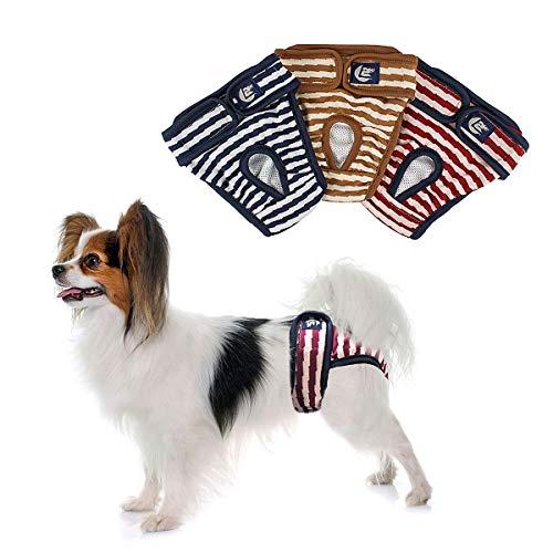 PETLESO Hundewindeln Hunde Schutzhöschen 3 Stück Waschbare Läufigkeitshose für Hündinnen-M