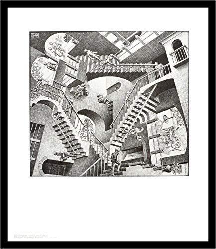 Germanposters MC Escher Poster Kunstdruck Bild Relativität im Alu Rahmen in schwarz 71x61cm