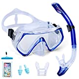 Supertrip Snorkel Set Adults-Scuba Snorkeling Diving Mask with Impact Resistant Anti-Fog Temperred Glass|Dry Top Snorkel,2 Mouthpieces 1 Waterproof Case Included Blue