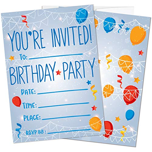 Party Invitations for Boys, Girls, Kids