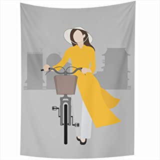 Ahawoso Tapestry 60x80 Inch Colorful Vietnamese Girl Bicycle Pic Vietnam Vintage Green Bike Child Female Water Kid Leaf Graphic Stage Flow Tapestries Wall Hanging Home Decor Living Room Bedroom Dorm