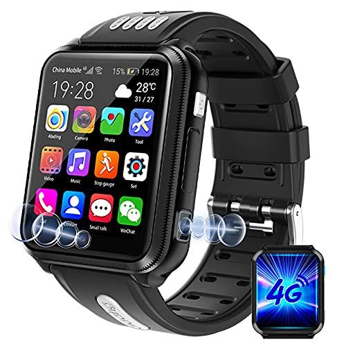 HQPCAHL Reloj Smartwatch Niño 4G con Llamadas Y Mensajes Y Videollamada Y con GPS LBS Compass Tracker Infantil Y Juvenil. Cámara, MP3 Música Podómetro Waterproof,Negro,3+32G