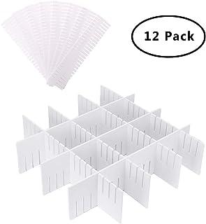SUNSHINETEK 12 Pack Divisores de cajón de plástico 32.4 * 7 cm Ajustable DIY Plástico Separador de Armario Blanco Organizador Tidy Contenedor para Ropa Interior Calcetines Cinturón Suministros