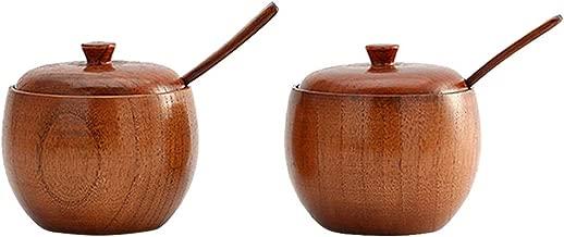 BESTONZON 2PCS/Set Natural Wood Tableware Spice Jar Kitchen Supplies Seasoning Sauce Pot with Lid Bowl Salt Shaker Box Tin