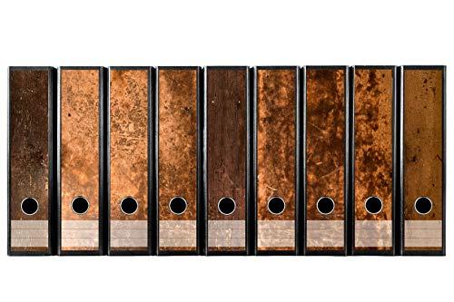 Set mit 9 Stück breiten Ordner-Etiketten selbstklebend Ordnerrücken Sticker rustikales Holz Design braun Holzdekor Vintage