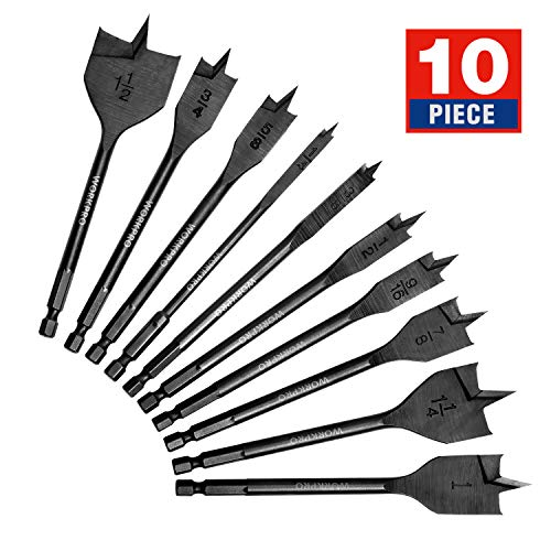 WORKPRO 10-Piece Pro Spade Drill Bit Set- Black Coating, Premium Carbon Steel, Paddle Flat Bits for Woodworking, Assorted Bits 1/4' to 1-1/2' with Storage Case