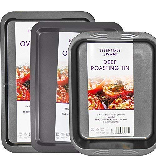 Mastronics Premium Bakeware Triple Pack - Set of 3 Non-Stick Baking Trays, Deep Roasting Tray, Large...