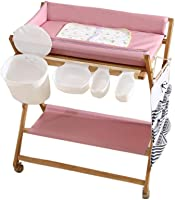 CWJ Small Bed Convenient for Look After Baby Without Bending Over, Foldable Baby for Infant Newborn Multi Storage Diaper Organizer Save Space Storage Desk
