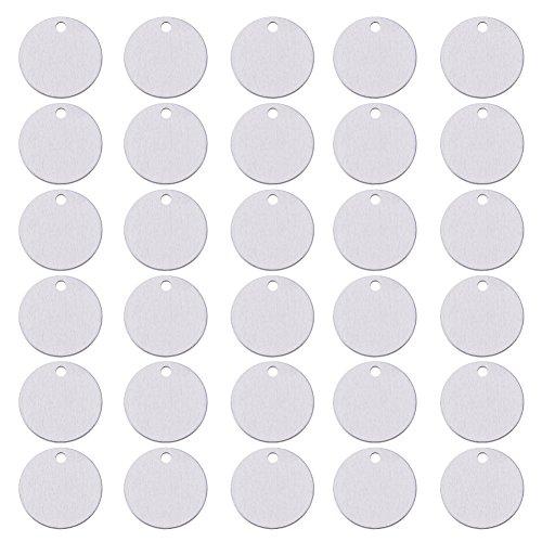 BENECREAT 30 PCS Colgante de Pulsera en Blanco Etiqueta de Estampación de Aluminio para Manualidad de Joyería Colgante Etiqueta para Perro - 30 mm, Forma Redonda