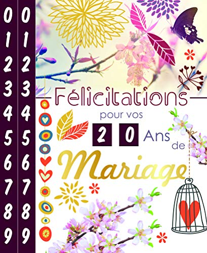 Afie Carte Félicitations pour vos ?? Ans ANNIVERSAIRE de MARIAGE - Tirettes de 1 à 99 ans - Fleurs