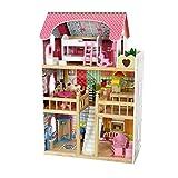 COIL Himbeerresidenz, Holzpuppenhaus mit Möbeln, Puppenhaus Holz, Traumvilla, Plus-gratis 2 Puppen. -