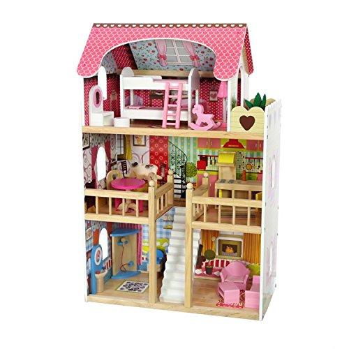 COIL Casa de muñecas de madera con muebles, casa de muñecas de madera, villa de ensueño, incluye 2 muñecas