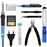 E · Durable Tin Soldering Iron 60W 220V Soldering Iron Kit 200 ℃ to 450 ℃ 5pcs Different Tips, Welding Wire Holder , Cutter , Tweezers , Screwdriver
