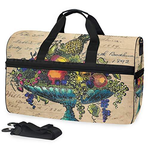 Weinlese-Obstschale-Stillleben-Bunte große Reise-Seesack-Einkaufstasche-Wochenenden-Übernachtreisetasche Turnbeutel-Eignungssport-Tasche mit Schuhfach