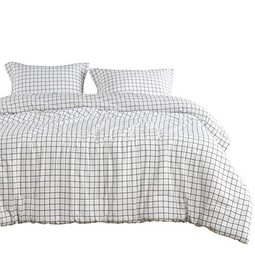 Wake In Cloud - Gray White Striped Comforter Set, Grey White Vertical Ticking Stripes Modern Pattern Printed, 100% Cotton Fabric with Soft Microfiber Inner Fill Bedding (3pcs, Twin Size)