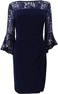 RALPH LAUREN Womens Navy Lace Yoke Bell Sleeve Jewel Neck Above The Knee Sheath Cocktail Dress Petites US Size: 2