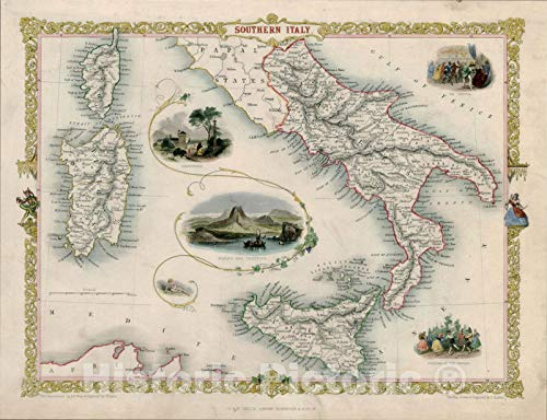 Historic Map : Southern Italy [Sicily, Sardinia, Corsica], 1851, John Tallis, v5, Vintage Wall Art : 24in x 18in