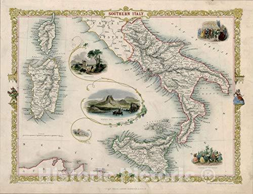 Historic Map : Southern Italy [Sicily, Sardinia, Corsica], 1851, John Tallis, v5, Vintage Wall Art : 24in x 18in