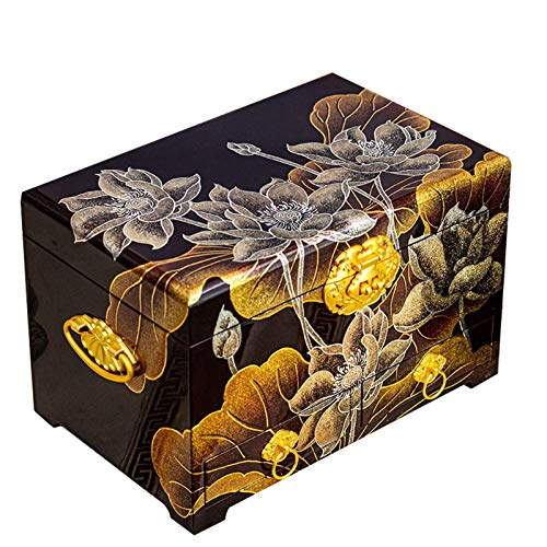 UGJ Caja Joyero Chino, Artesanías De Laca Pintada Caja De Almacenamiento De Madera Organizador De Baratijas para Regalos De Cumpleaños De Las Mujeres