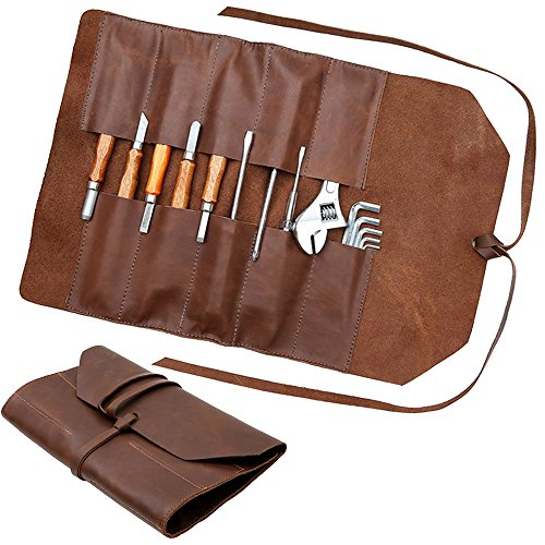 Handmade Leather Roll Tools Bag - 10 Waterproof Pockets
