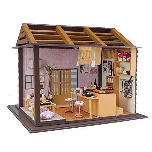 ROCK1ON DIY Poppenhuis Houten Miniatuur Meubelset 3D Puzzels Mini Japanse Hotel Plus Stofbestendig en Led Licht Creatieve Kerstmis Verjaardagscadeau voor Vrouwen en Meisjes