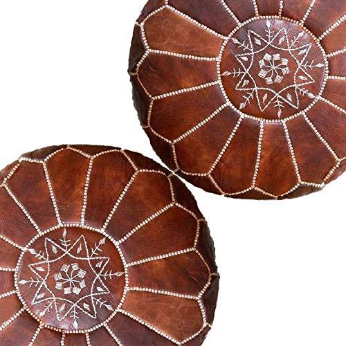 Puf marroquí | Juego de 2 puf marroquí de color marrón claro, puf otomano, pufs de taburete, 100% cuero hecho a mano, listo para magia tu sala de estar.