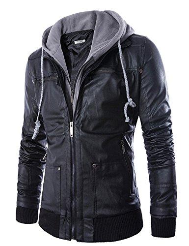 Jaqueta masculina de couro falso com capuz e parca da Jueshanzj, Preto, Aisa XL(US L)