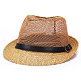 Rolcheleego - Sombrero Paja Hombre Boda Panama de Lino Transpirable para Verano del Sol con ala Ancha Gorra Jazz Caballeros para Viaje Playa - Blanco - M