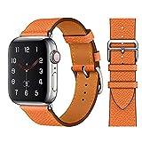 Regolabile Correas de Cuero Compatible con Apple Watch Series SE 7/6/5/4/3,Repuesto Piel Reloj Correa para Hombres Mujeres para iWatch 40mm 41mm 38mm 44mm 45mm 42mm,Vintage Pulsera,Naranja