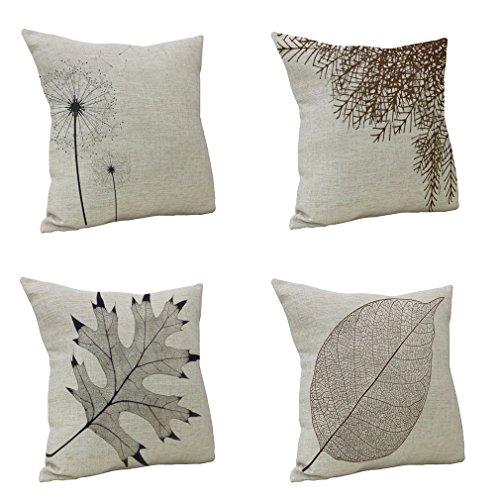 Nunubee Fundas de almohada de lino de algodón y algodón, 45 x 45 cm, fundas de almohada para sofá (4 piezas)