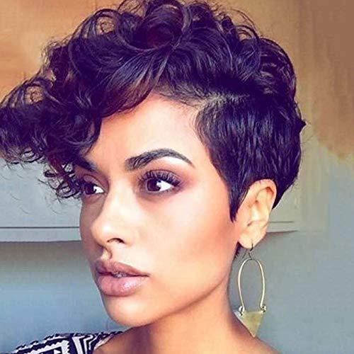 QAZJ Perruque Résistant à la Chaleur Cheveux Courts Femme 180% de densité Rouleau de tête d'explosion Perruque Noir 27cm