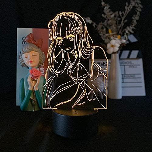Lámpara de noche LED de Anime, para cama, ilusiones, comienza en otro mundo Emilia, 7 colores, sin mando a distancia, base de lava