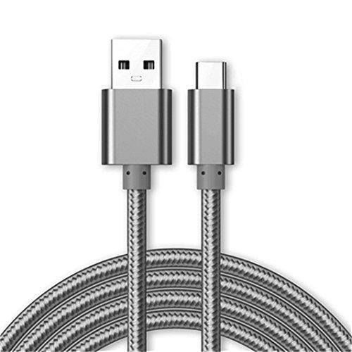 Kit Me Out Datenkabel für LG G7 Fit [2M] USB C Typ C Kabel [USB 3.0] Schnelles Aufladen & Synchronisation [3.1 Amp Schnellladekabel] Nylon Ladekabel - Grau