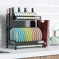 皿の棚、304ステンレス鋼の乾燥の棚は支持ボウル、スプーンおよび皿42.5 * 24 * 46cmのための台所貯蔵の棚を皿に盛ります (Color : A)