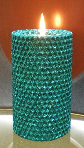 80 Hour-6 Inch Natural Beeswax Hybrid Pillar Glitter Candle, Wild Peacock Color