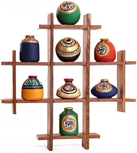Unravel India 8 Terracotta Warli with Super popular specialty store Pots Handpainted Cheap super special price Sheesham