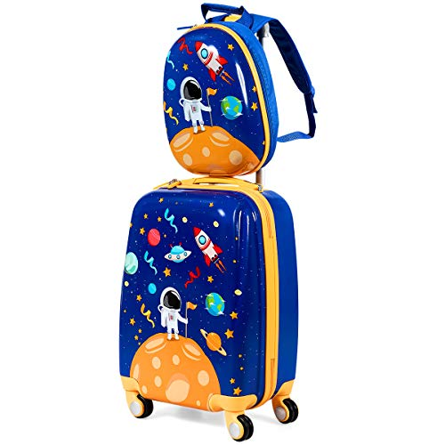 Maxmass 2PCS Kids Luggage, 12' Backpack and 18' Suitcase for Boys Girls Travel School