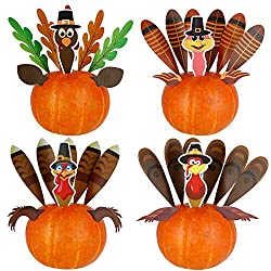 Image: DIY Thanksgiving Pumpkin Turkey Insert Making Kit for Thanksgiving Party Home Decoration Craft Kit Thanksgiving Toy Set (4 Sets) | Brand: Optimisland